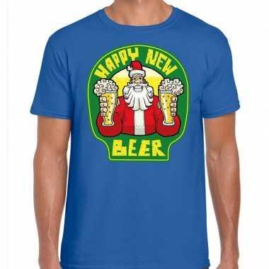 Fout nieuwjaar / kerstshirt happy new beer / bier blauw heren