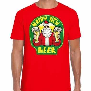 Fout nieuwjaar / kerstshirt happy new beer / bier rood heren