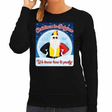 Foute belgie kersttrui christmas belgium zwart dames