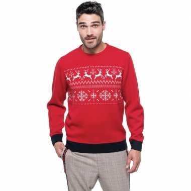 Foute gebreide kersttrui rood noorse print heren
