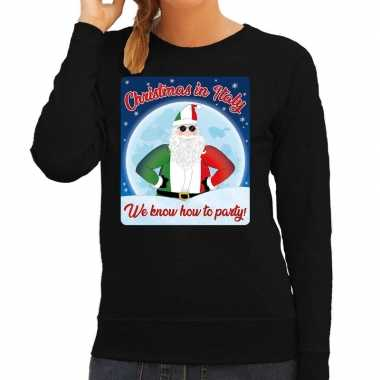 Foute italie kersttrui christmas italy zwart dames