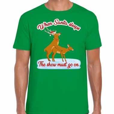 Foute kerst shirt seks rendieren show must go on groen heren