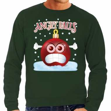 Foute kerst sweater / trui angry balls groen heren