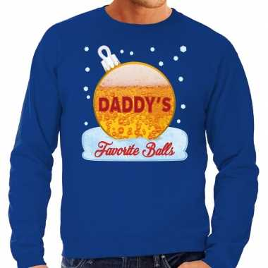 Foute kerst sweater / trui daddy favorite balls bier blauw heren