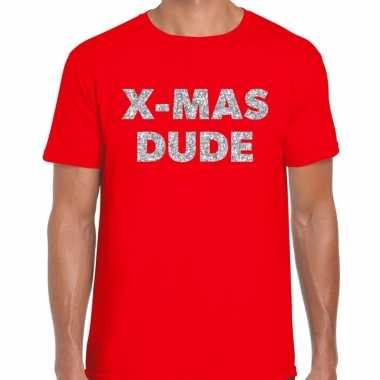 Foute kerst t shirt x mas dude zilver glitter op rood heren