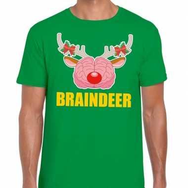 Foute kerst t shirt braindeer groen heren