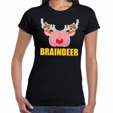 Foute kerst t shirt braindeer zwart dames