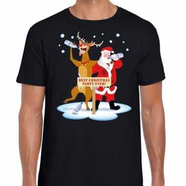 Foute kerst t shirt dronken kerstman rudolf zwart heren