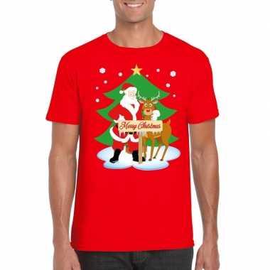 Foute kerst t shirt kerstman rendier rudolf rood heren