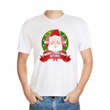 Foute kerst t-shirt merry christmas bitches heren