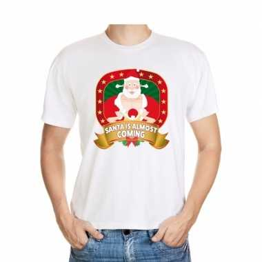 Foute kerst t-shirt santa is almost coming heren