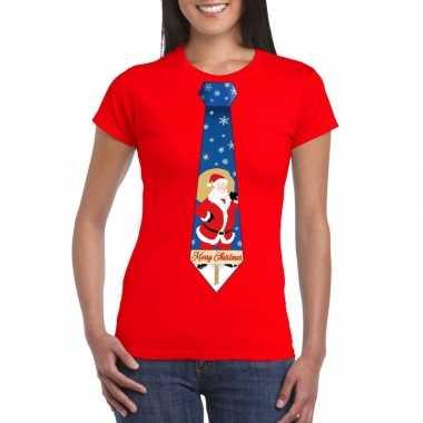 Foute kerst t shirt stropdas kerstman print rood dames