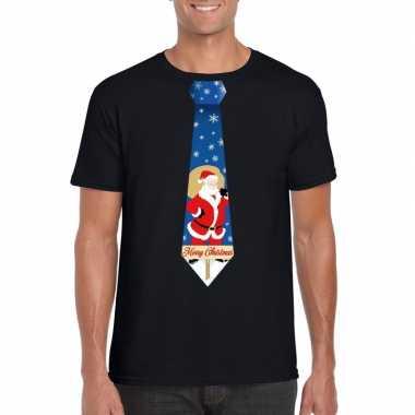 Foute kerst t shirt stropdas kerstman print zwart heren
