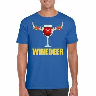 Foute kerst t shirt winedeer blauw heren