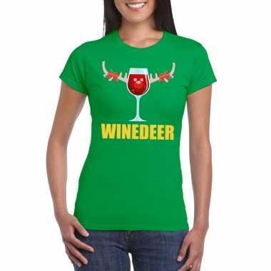 Foute kerst t shirt winedeer groen dames