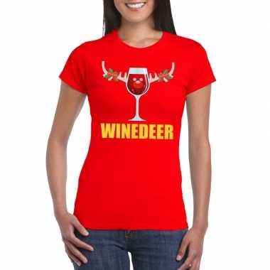 Foute kerst t shirt winedeer rood dames