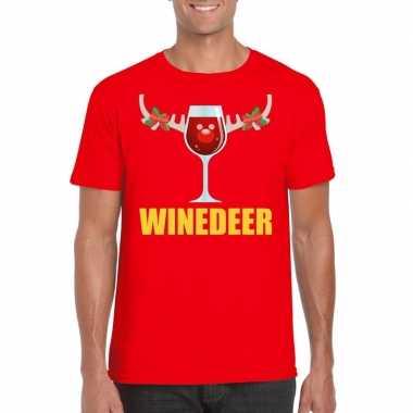 Foute kerst t shirt winedeer rood heren