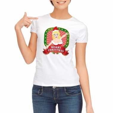 Foute kerst t-shirt wit merry christmas dames