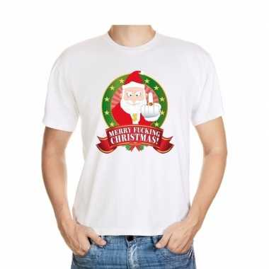 Foute kerst t-shirt wit merry fucking christmas heren