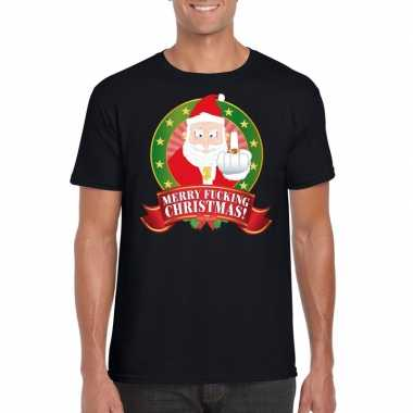 Foute kerst t shirt zwart merry fucking christmas heren
