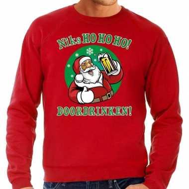Foute kersttrui bier drinkende kerstman rood heren