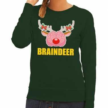 Foute kersttrui braindeer groen dames