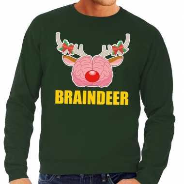 Foute kersttrui braindeer groen heren