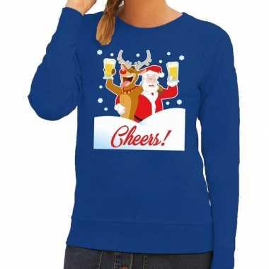 Foute kersttrui cheers dronken kerstman blauw dames