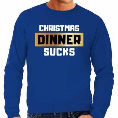Foute kersttrui christmas dinner sucks blauw heren