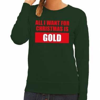 Foute kersttrui christmas gold groen dames