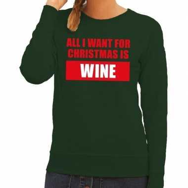 Foute kersttrui christmas wine groen dames