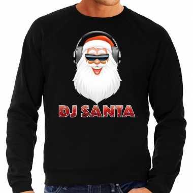 Foute kersttrui dj santa koptelefoon zwart heren