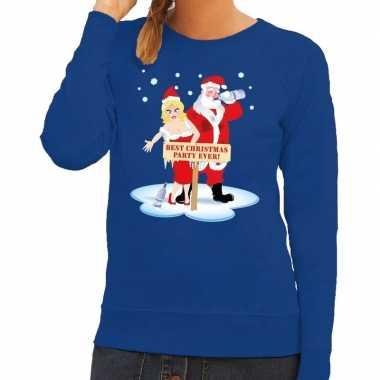 Foute kersttrui dronken kerstman kerstvrouw blauw dames