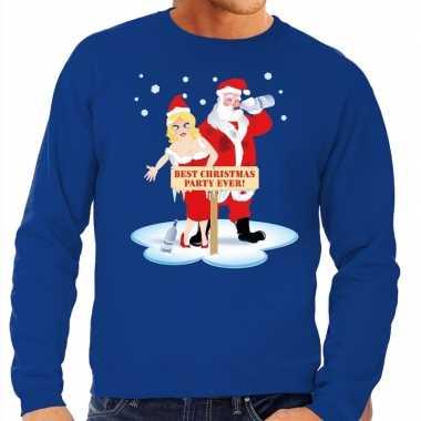Foute kersttrui dronken kerstman kerstvrouw blauw heren