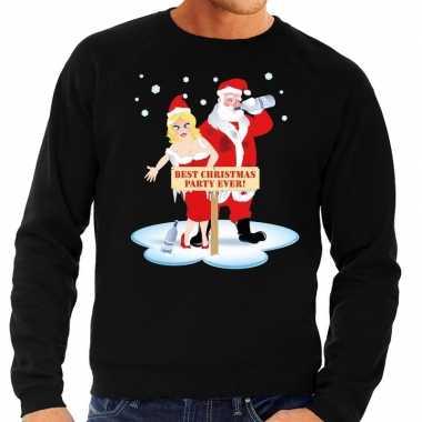 Foute kersttrui dronken kerstman kerstvrouw zwart heren