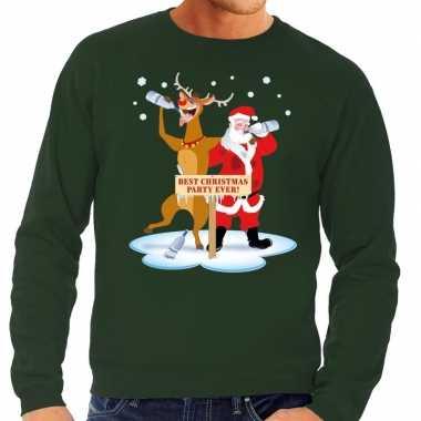 Foute kersttrui dronken kerstman rendier rudolf groen heren