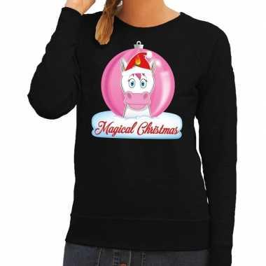 Foute kersttrui eenhoorn magical christmas zwarte dames sweater