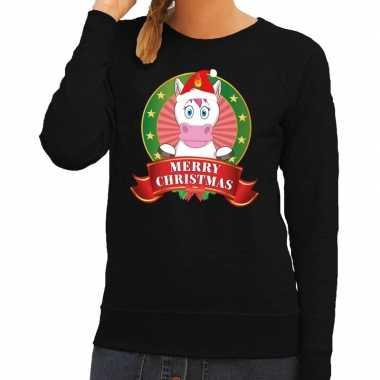 Foute kersttrui eenhoorn zwart merry christmas dames
