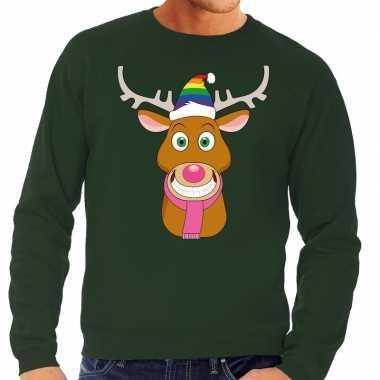 Foute kersttrui gay rudolf rendier groen heren