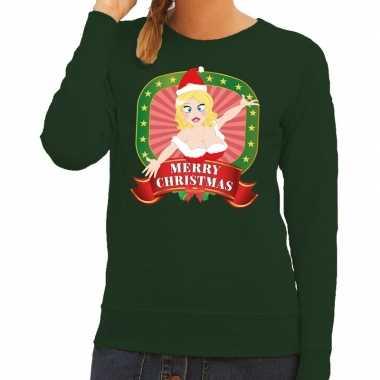 Foute kersttrui groen merry christmas kerstvrouw dames