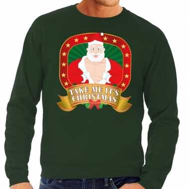 Foute kersttrui groen take me its christmas heren