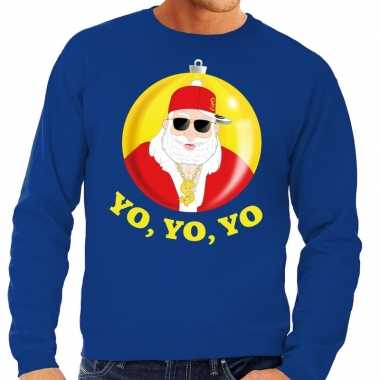 Foute kersttrui hip hop / rapper kerstman blauw heren