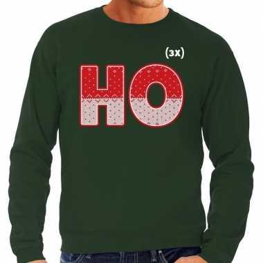 Foute kersttrui ho ho ho groen heren