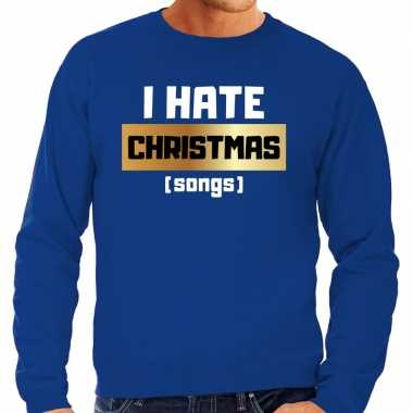 Foute kersttrui i hate christmas songs blauw heren