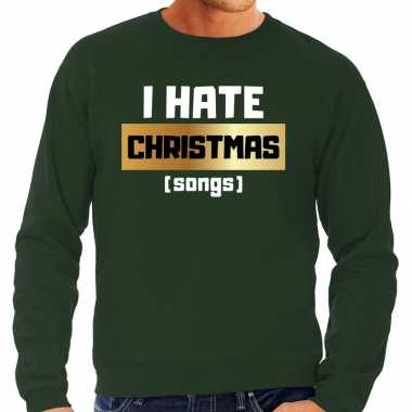 Foute kersttrui i hate christmas songs groen heren
