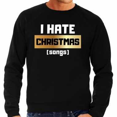 Foute kersttrui i hate christmas songs zwart heren