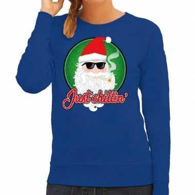 Foute kersttrui just chillin blauw dames