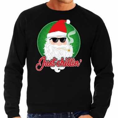 Foute kersttrui just chillin zwart heren