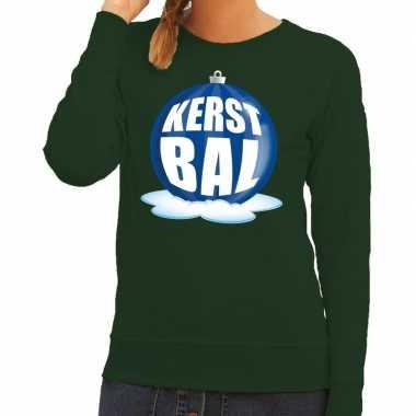 Foute kersttrui kerstbal blauw op groene sweater dames