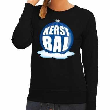 Foute kersttrui kerstbal blauw op zwarte sweater dames